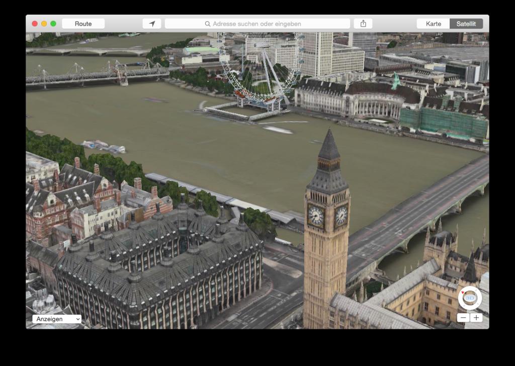 Das London Eye dreht sich und Big Ben zeigt die aktuelle Uhrzeit